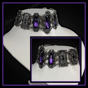 Jewelry - Gothic Choker, Victorian Amethyst Necklace Collar